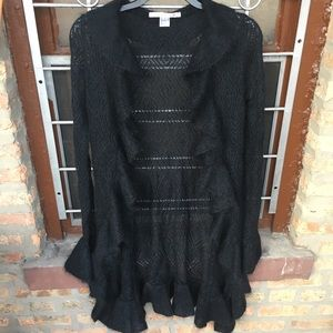 DVF black mohair ruffle open front cardigan bell S
